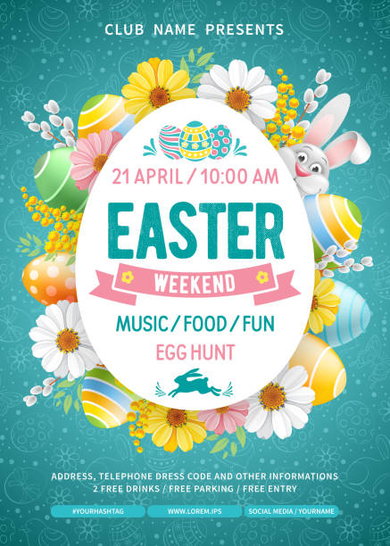 Easter Weekend Party Flyer Template Advertising poster template for Easter Weekend Party with cheerful bunny, colored eggs and spring flowers on turquoise background with doodle pattern. Vector Illustration. easter stock illustrations