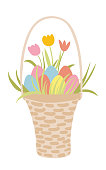 Easter basket with eggs and plants. Hand drawn Easter greeting card. Wicker basket with coloured eggs and flowers. Design for textile, greeting cards, invitation, home decor.