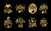 Easter wishes. Hand-drawing labels design big set. Lettering, silhouette of easter hare and easter eggs. Emblems and sigs of religious holiday. Gold foillogo. Vector illustration for web and print.