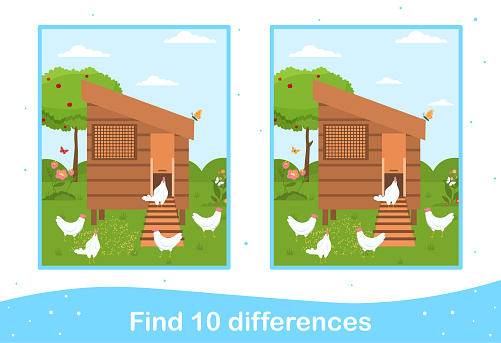 Easter worksheet with find differences game for children