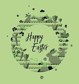 Easter wreath vector illustration on green background