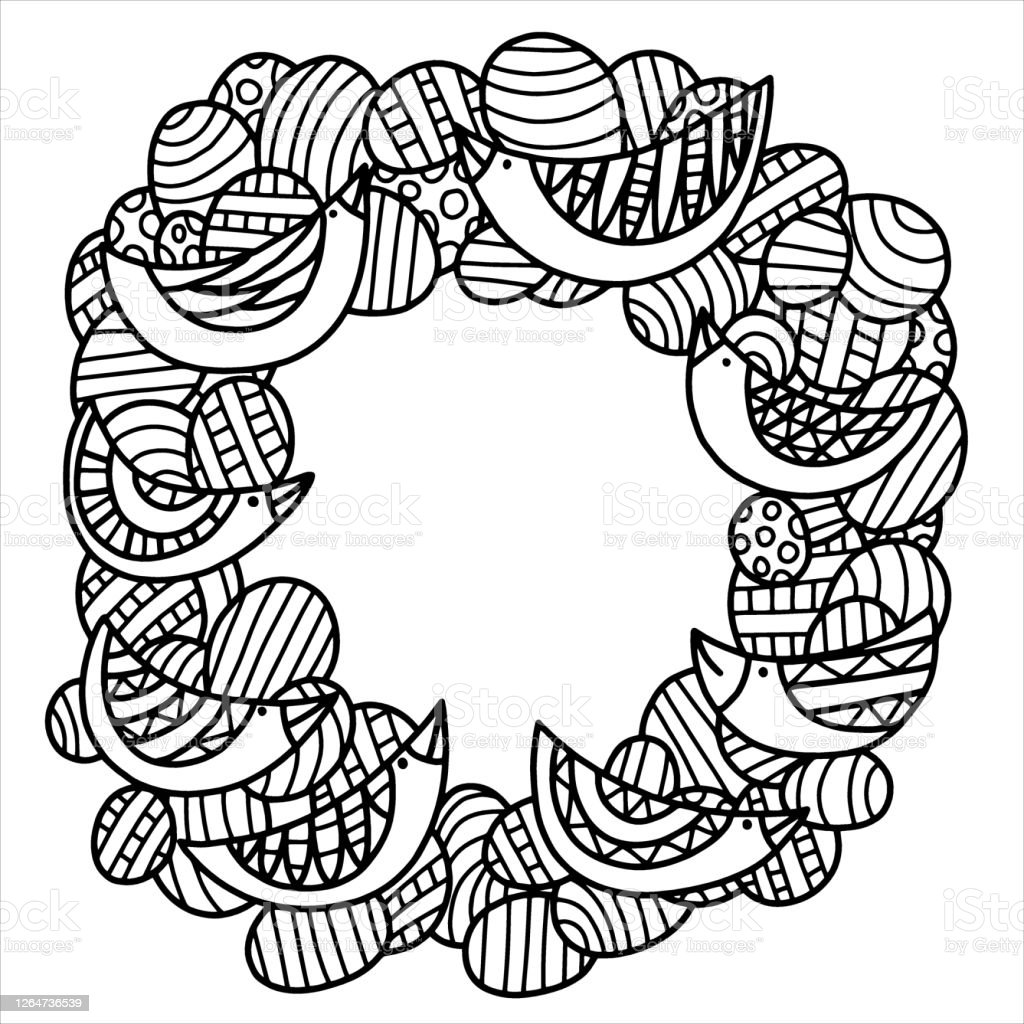 Easter Wreath With Colored Eggs And Birds Coloring Page Stock Vector Illustration Stock Illustration Download Image Now Istock