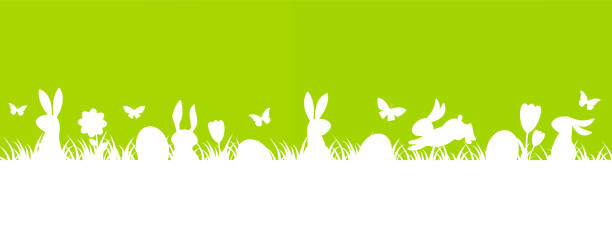 easter01 Happy Easter border or background with rabbits silhouettes, Easter eggs, green grass, butterflies, flowers, vector illustration. easter stock illustrations