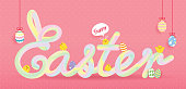 Easter banner template. 3d neon gradient blend typeface. Pastel color tube hand drawn lettering on pink polka dot background with cute baby chicken and easter eggs.
