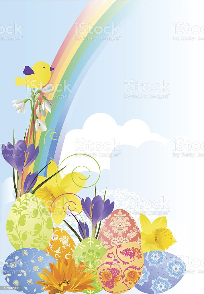 Easterbackground with flowers and eggs. royalty-free easterbackground with flowers and eggs stock vector art & more images of bird