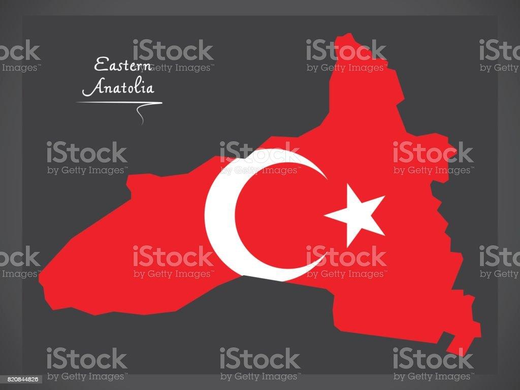 Eastern Aanatolia Turkey map with Turkish national flag illustration vector art illustration
