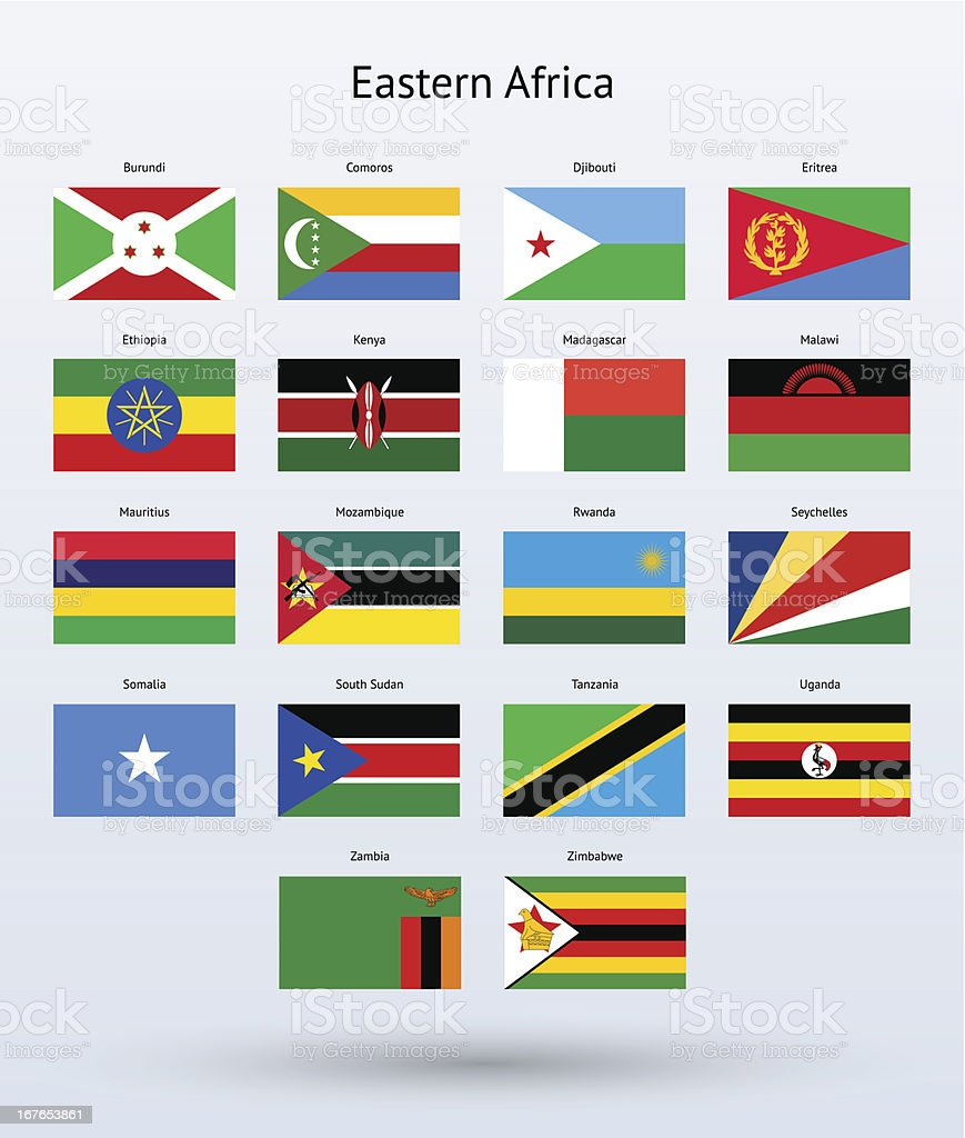 Eastern Africa Flags Collection vector art illustration