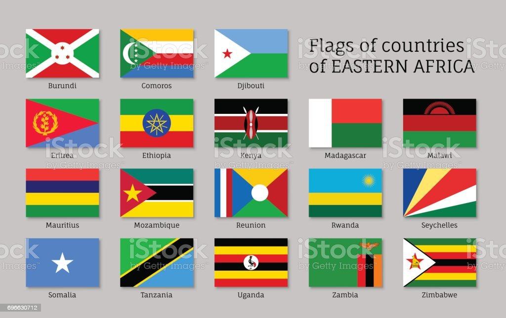 Eastern Africa flags flat icons set vector art illustration