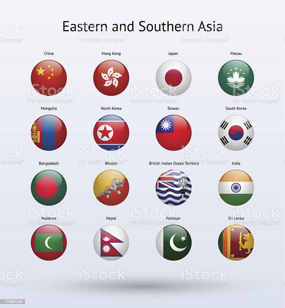 東洋、南アジア丸型フラッグコレクション ベクターアートイラスト