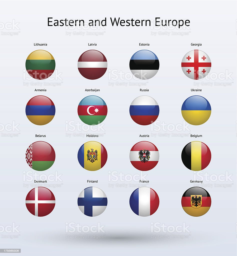 Eastern and Western Europe Round Flags Collection vector art illustration