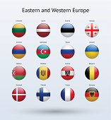 Eastern and Western Europe Round Flags Collection