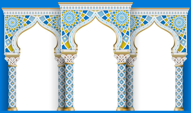 Eastern arch of the mosaic. Carved architecture vector art illustration
