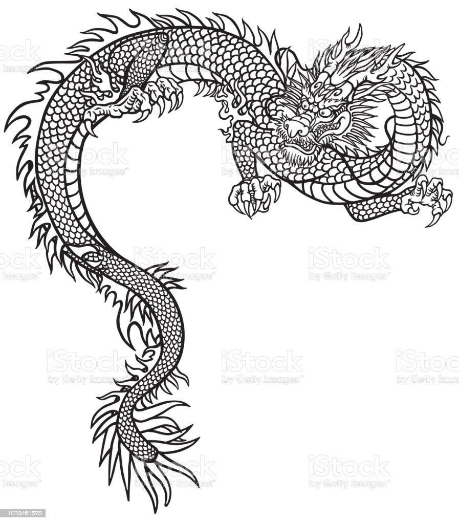 Tatuaje de dragon oriental blanco y negro - ilustración de arte vectorial