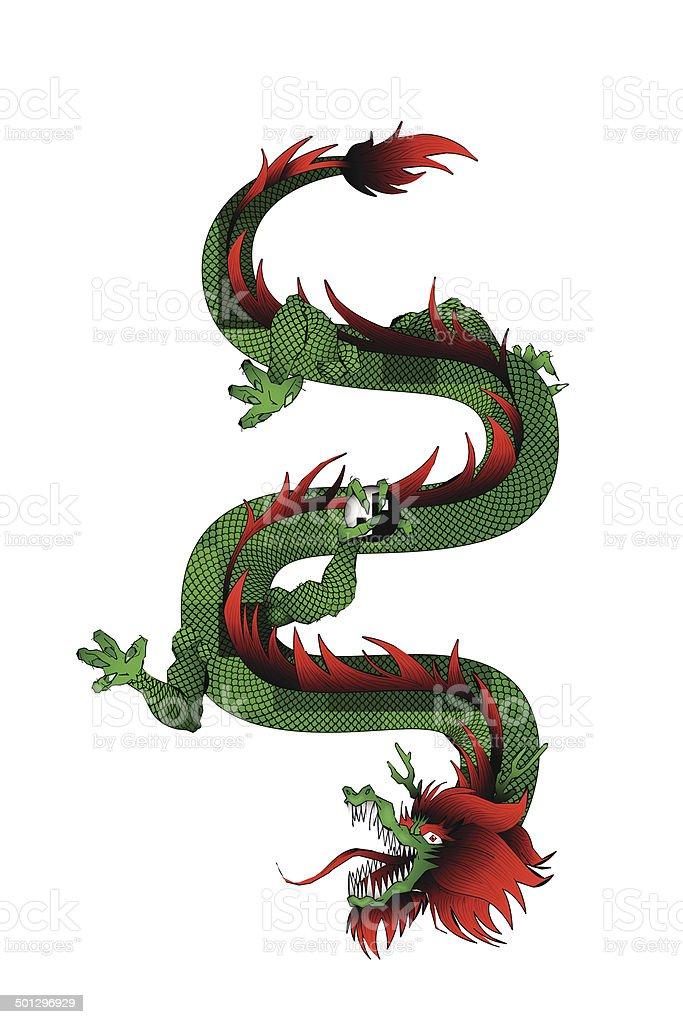 eastern dragon vector art illustration