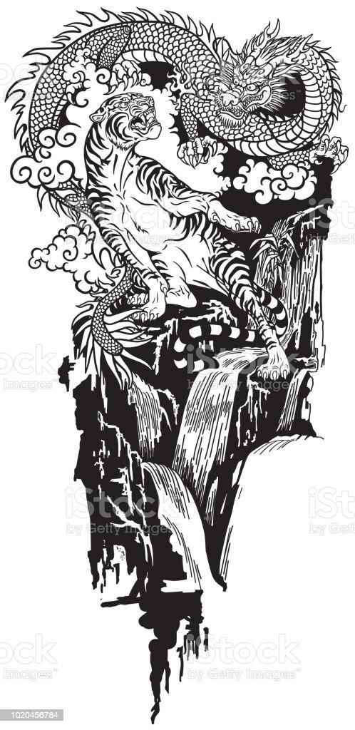 Oost Dragon Versus Tijger Tattoo Stockvectorkunst En Meer