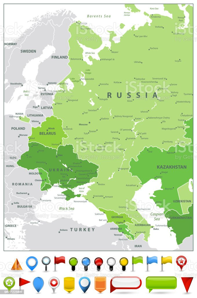Eastern Europe Map Spot Green Colors And Glossy Icons Stock Vector