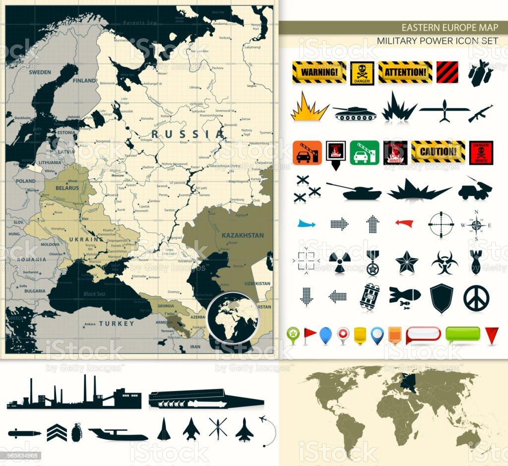 Oost-Europa kaart met een militaire macht icon set - Royalty-free Apparatuur vectorkunst