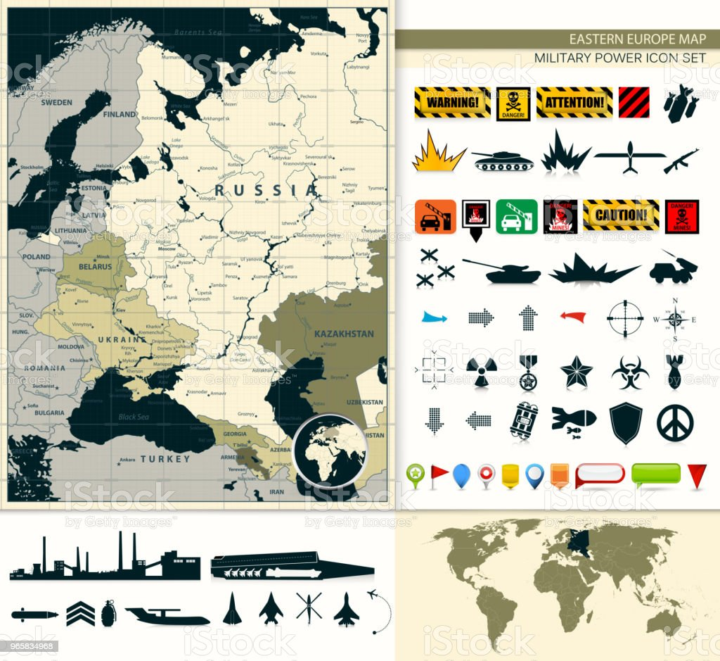 Eastern Europe Map with a military power icon set vector art illustration