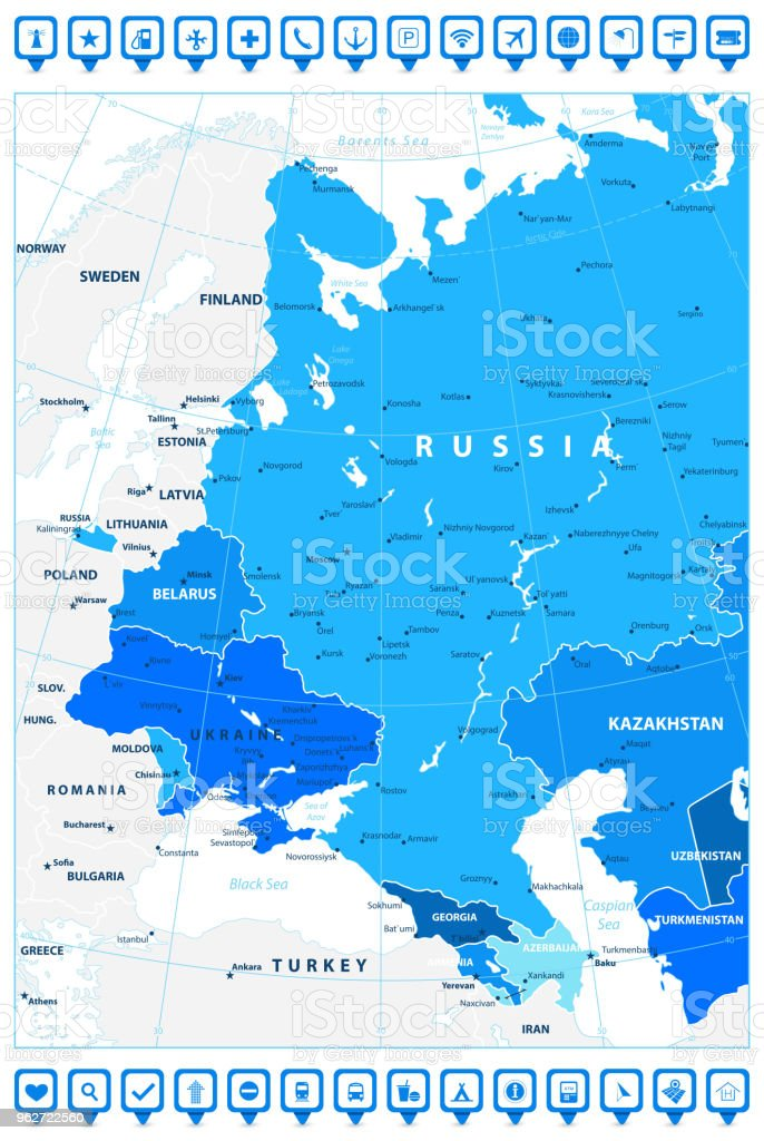 Political Map Eastern Europe.Eastern Europe Political Map In Shades Of Blue And Map Pointers