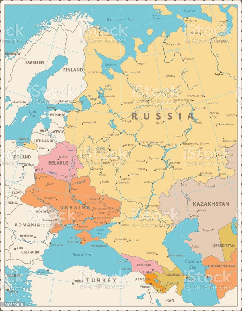 Osteuropa Politische Karte Retrofarben Stock Vektor Art Und Mehr