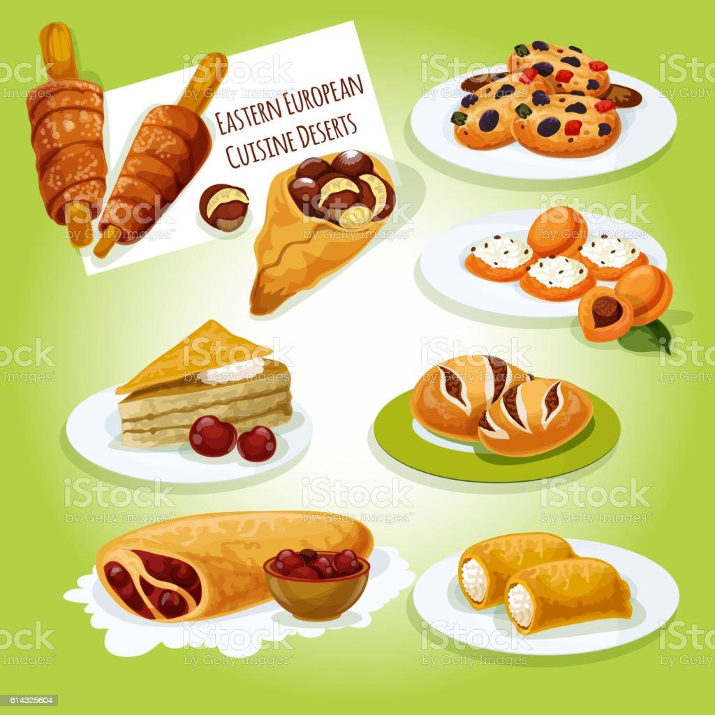 Eastern european cuisine desserts icon vector art illustration
