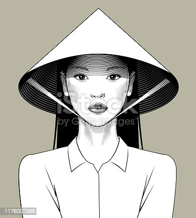 Eastern girl in asian conical hat. Vintage engraving stylized drawing. Vector illustration