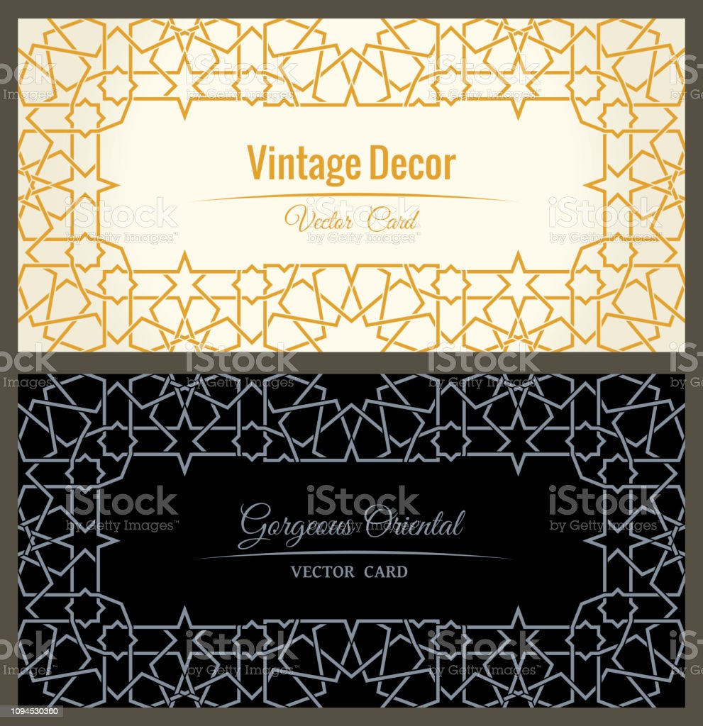 Eastern gold arabic vector lines design templates. Muslim floral frame for card and postcard vector art illustration