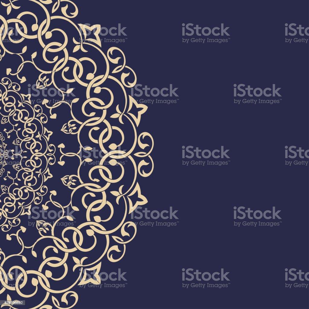Eastern Greeting Card Background, Golden Frame vector art illustration