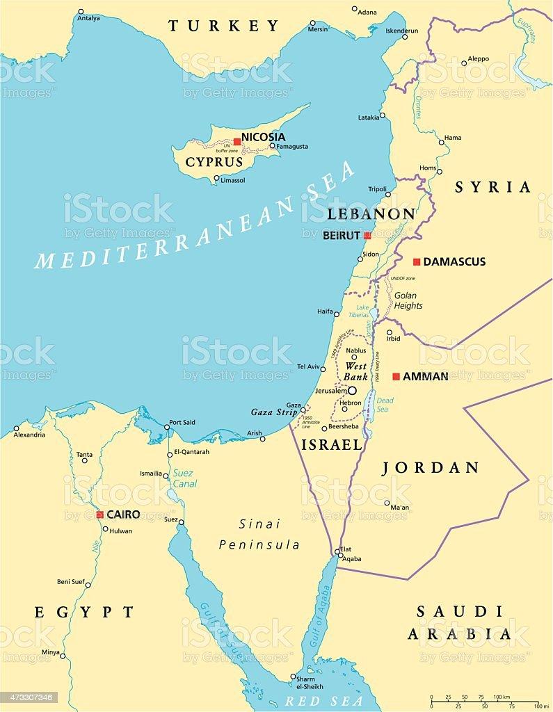 Eastern Mediterranean Political Map vector art illustration