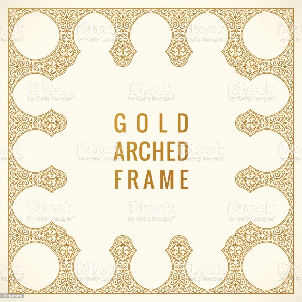 Eastern vintage arch card. Arabic ornament floral frame. Template design elements in oriental style vector art illustration