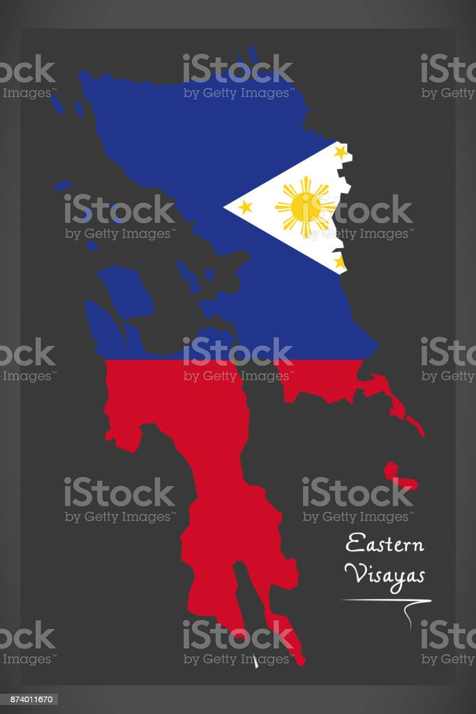 Eastern Visayas map of the Philippines with Philippine national flag illustration vector art illustration