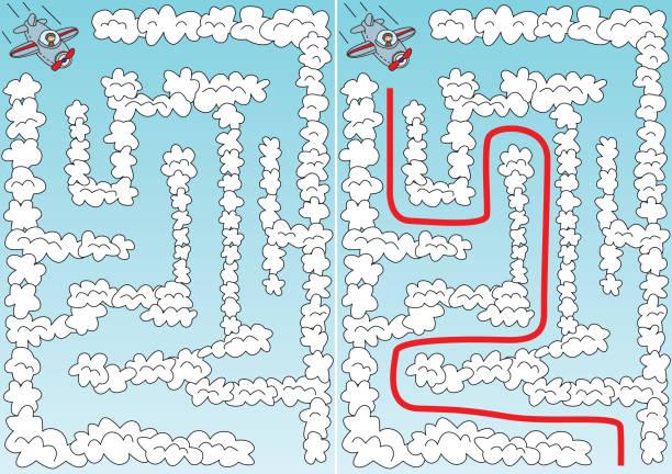 Labirinto de avião fácil - ilustração de arte em vetor