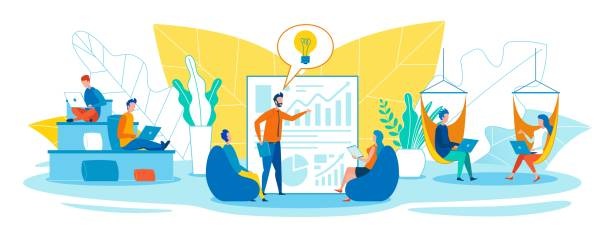 Easy and Creative Working in Open Office Space Easy and Creative Working in Open Office Space travel agents stock illustrations