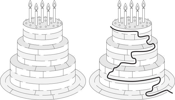 Easy birthday cake maze Easy birthday cake maze for younger kids with a solution in black and white cartoon of birthday cake outline stock illustrations