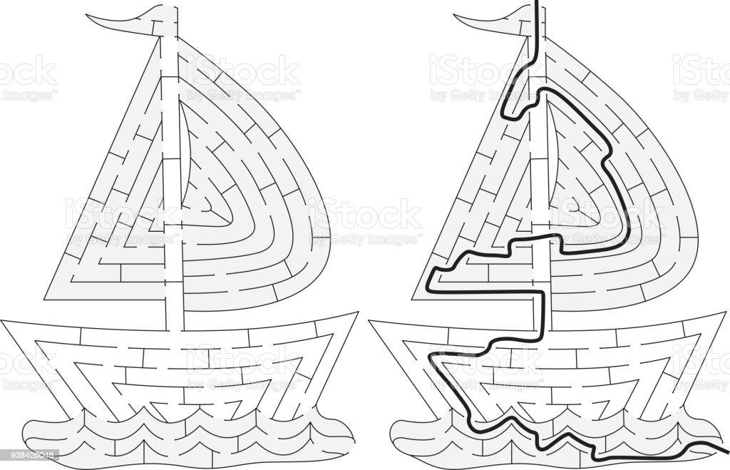 Labyrinthe De Bateau Facile Vecteurs Libres De Droits Et Plus D Images Vectorielles De Activite Istock