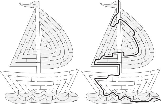 Labirinto do barco fácil - ilustração de arte em vetor