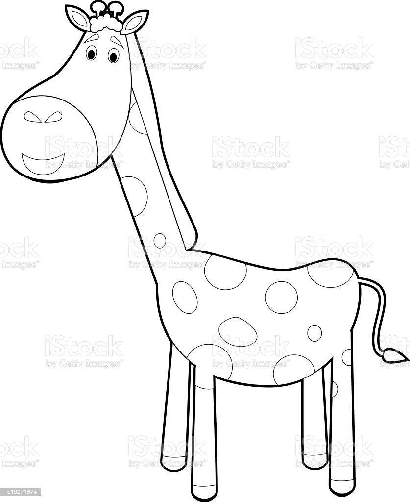 Ilustración De Fácil Los Animales Para Colorear Con Los Niños Jirafa