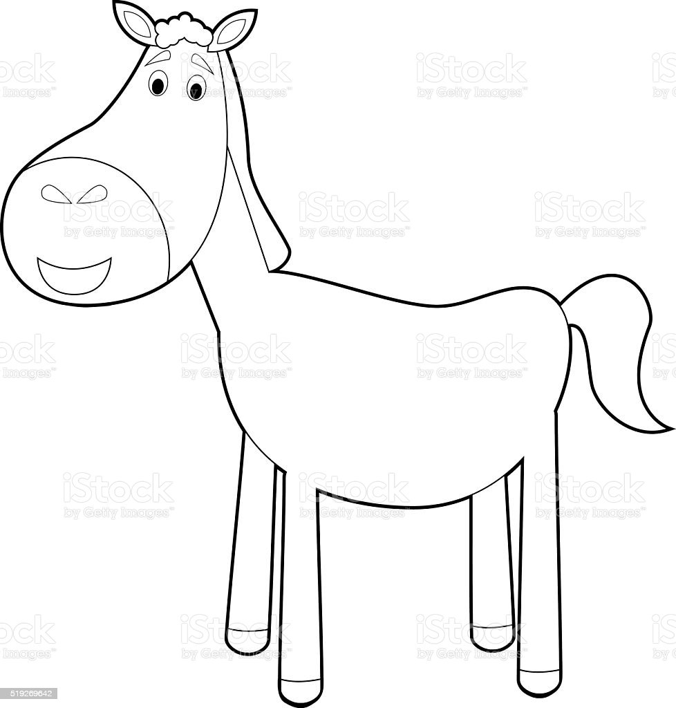 Easy Coloring Animals For Kids Horse Stock Vector Art More Images