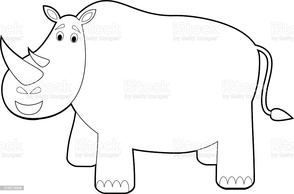 Easy Coloring Animals for Kids: Rhino vector art illustration