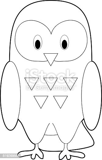 Easy Coloring Animals For Kids Snowy Owl stock vector art