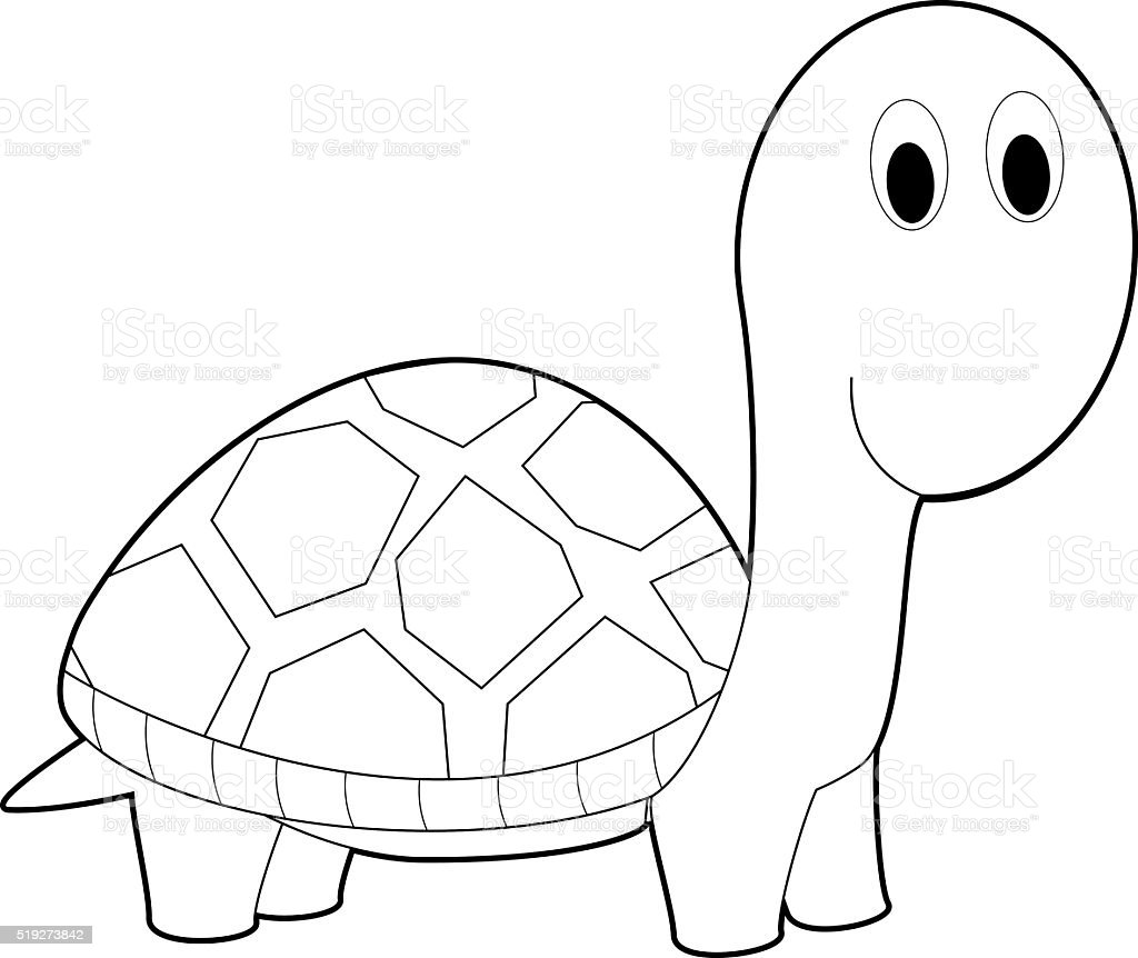 Leicht Färben Tiere Für Kinder Wasserschildkröte Stock Vektor Art ...