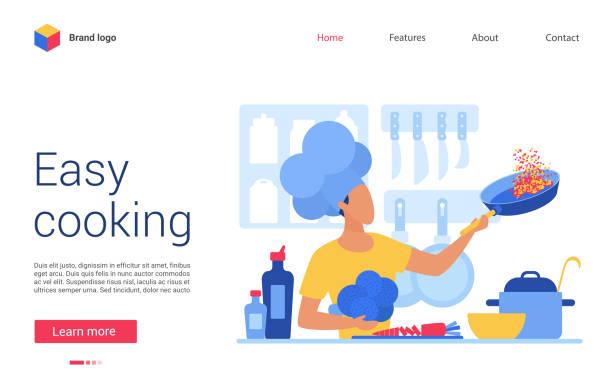 bildbanksillustrationer, clip art samt tecknat material och ikoner med enkel matlagning vektor illustration, hemsida gränssnitt kreativ design för online matlagning kurs, skola eller blogg, tecknad platta kock man karaktär kockar mat i köket - arbeta köksbord man