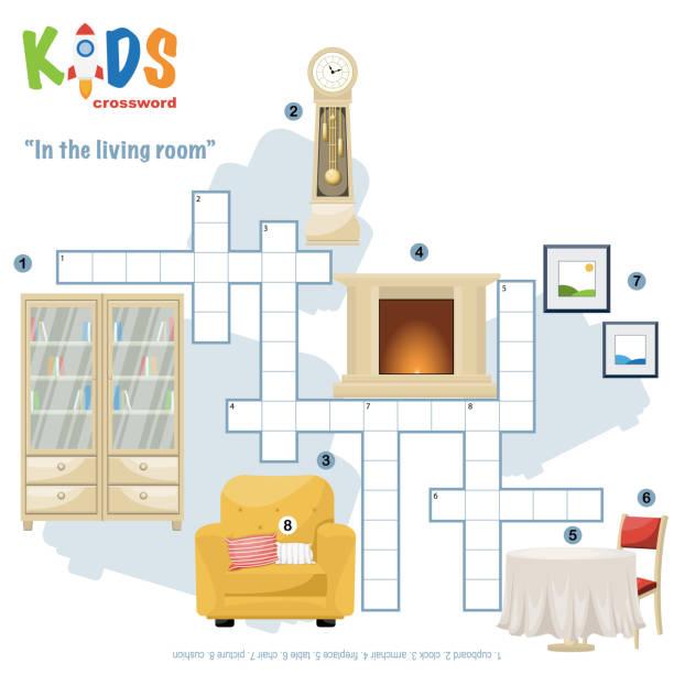 ilustrações, clipart, desenhos animados e ícones de palavras cruzadas fáceis 'na sala de estar' - salas de aula