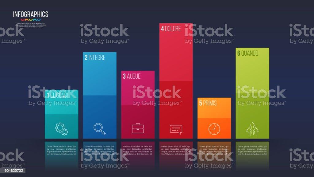 Easy editable vector 6 options infographic design, bar chart, presentation template. vector art illustration