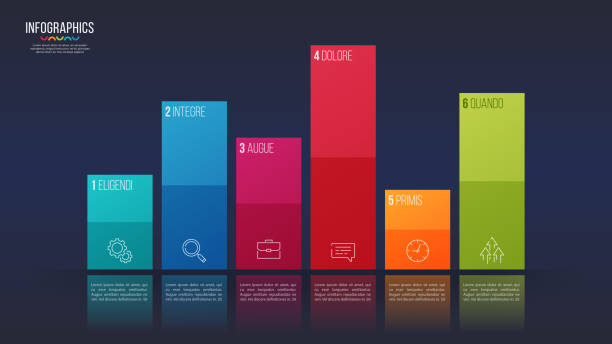 Easy editable vector 6 options infographic design, bar chart, presentation template. Easy editable vector 6 options infographic design, bar chart, presentation template. Global swatches. bar graph stock illustrations