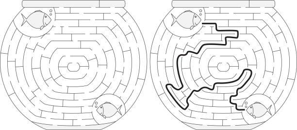 Labirinto de aquário fácil - ilustração de arte em vetor