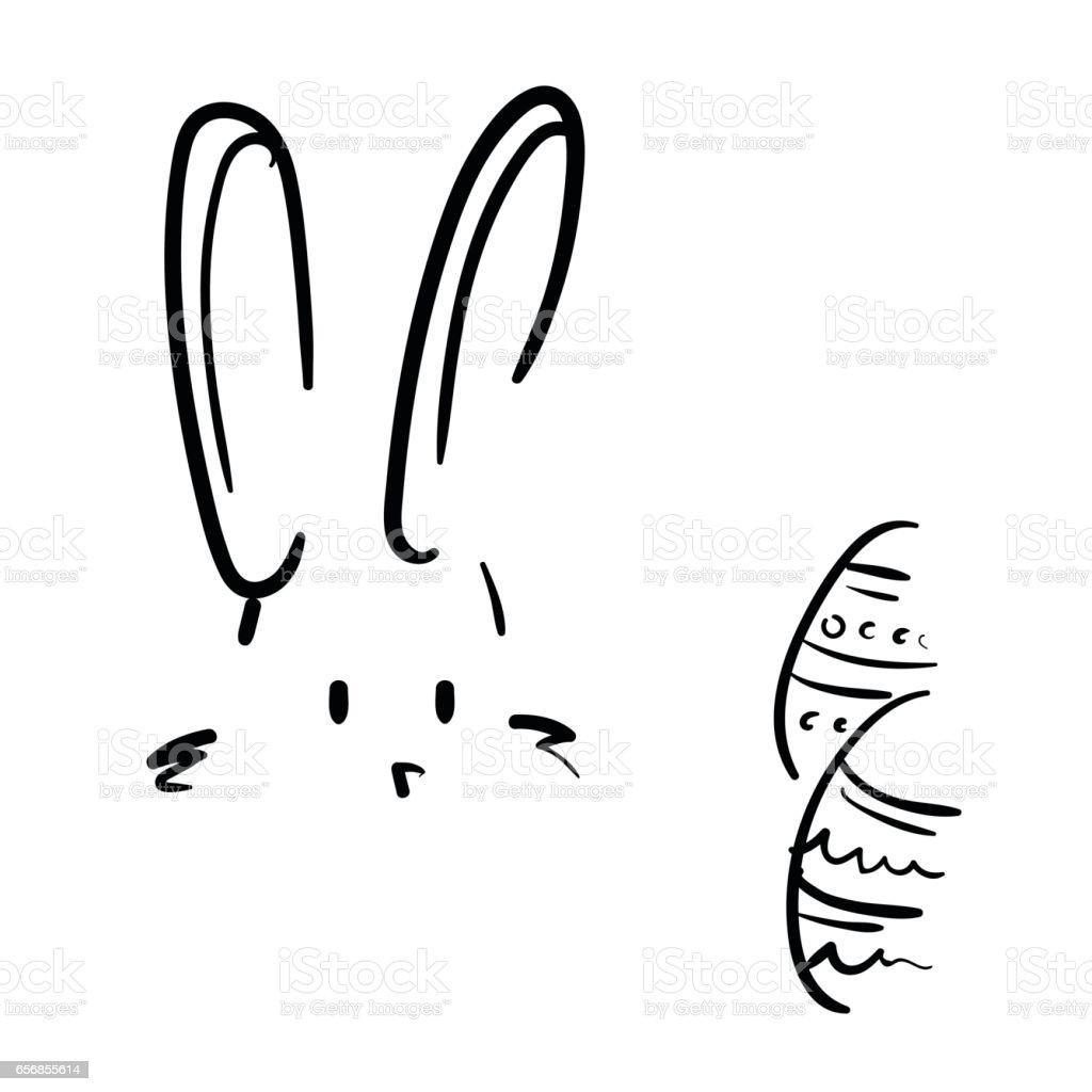 ilustração de mão fácil desenho desenho de coelho e ovos de páscoa e