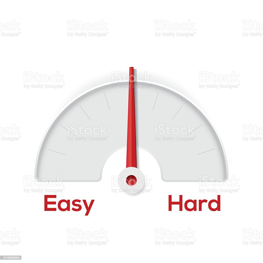Easy hard indicator gauge vector art illustration