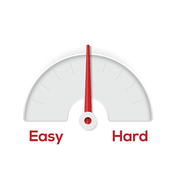 illustrazioni stock, clip art, cartoni animati e icone di tendenza di easy hard indicator gauge - facilità