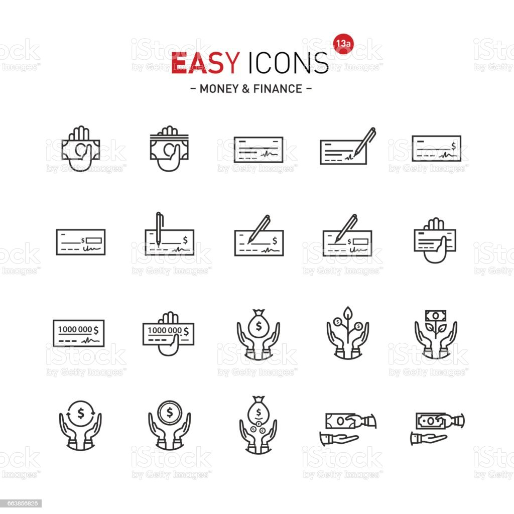 Easy icons 13a Money vector art illustration